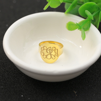 Golden Plated Monogram Rings 925 Solid Silver 3 Initals Name Ring Customized Silver Men Personalized Wedding Ring