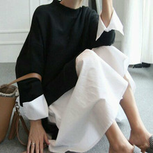 [soonyour] 2017 spring fashion new O-neck long sleeve split joint False two pieces pullover dress woman big size AS20941