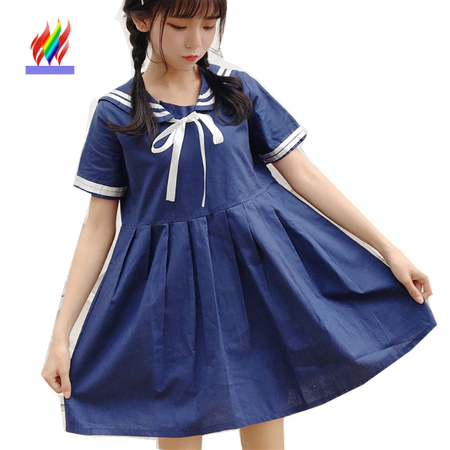 c5c11fc86 Cute Japanese Clothes Sweet Dresses New Hot Sale Preppy Style Women Summer  Casual Patchwork Striped Girls Bow Peter Collar Dress