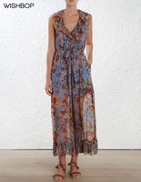 WISHBOP NEW 2018 Fashion Silk Blue Floral Print LOVELORN FRILL JUMPSUIT Deep V Neck Low Cut