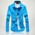 S-5XL/новый 2015 мужская мода цвет вельвет высококачественные товары досуг рубашки с длинными рукавами/Мужской большой м бизнес рубашки