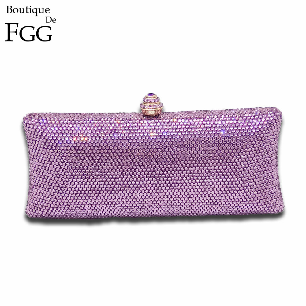 Amethyst Purple Crystal Evening Clutch Bag Women Designers Bags And Purses Wedding Diamond ...