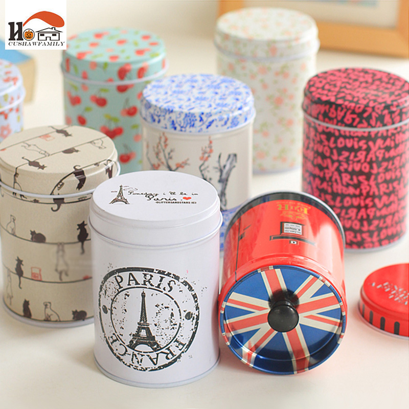 1pcs elegant double layer seal Tea caddy receive box candy storage wedding favor tin cable organizer container household