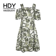 HDY Haoduoyi Femme Stylish Elegant Bohemian Slash Neck Short Sleeves Strap A-Line Slit Floral Graceful Middle Women Summer Dress