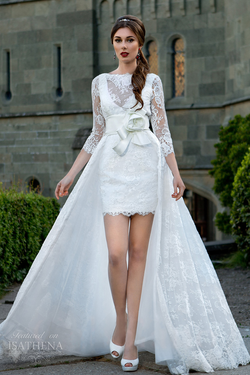 cdf9cc8a9 2016 Latest Fashion White Lace Illusion 3 4 Sleeves Detachable Skirt High  Low Wedding Dresses Vestidos De Noiva Tulle VM77-in Wedding Dresses from  Weddings ...
