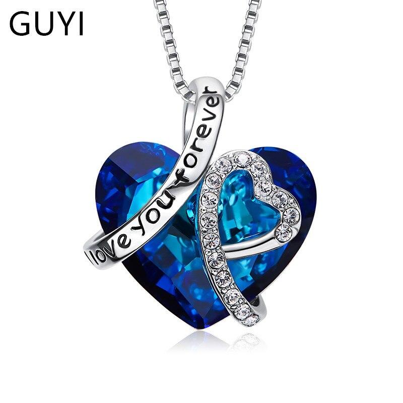 GUYI 925 collier en argent Sterling et pendentifs bijoux pour femmes cristaux de coeur romantique mode fête des mères cadeau