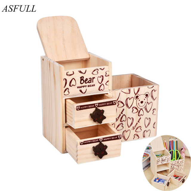 ASFULL Wood Creative Fashion Cute Bear Wooden Pen Holder Office Desktop  Decor Pencil For Stationery Storage