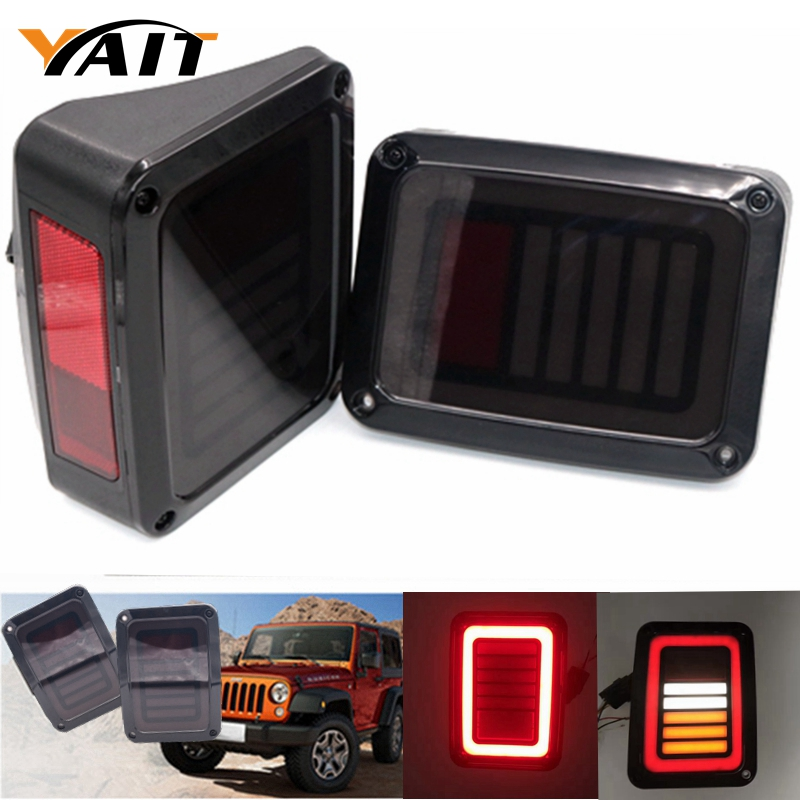 For Jeep Wrangler JK 2007 - 2016 Tail Light Diamond Smoke LED Tail Light for jeep wrangler jk 2007 2016 tail light diamond smoke led tail light