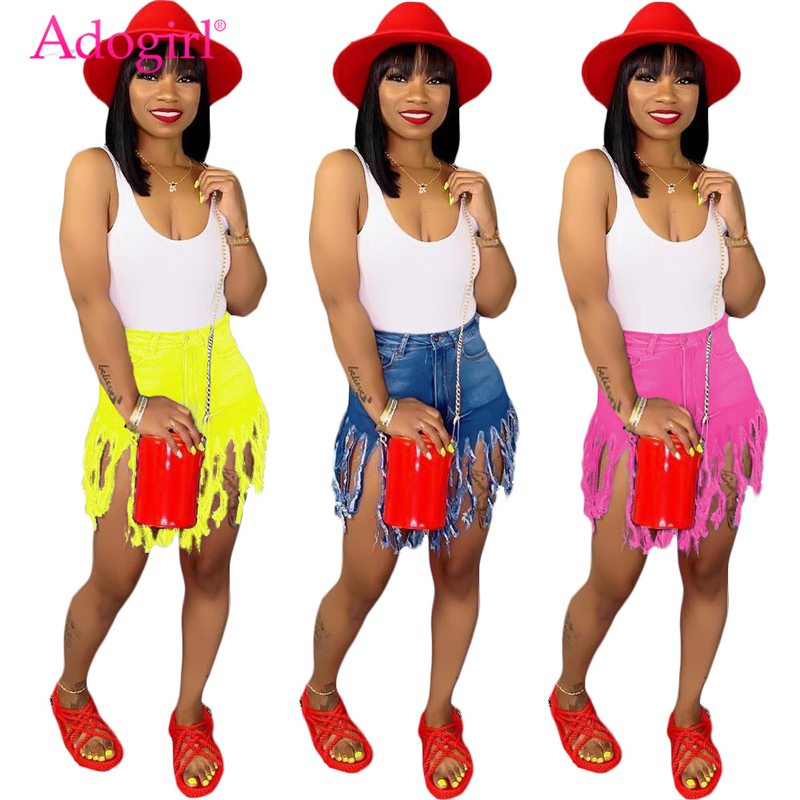 Adogirl Plus Size S-3XL Jeans Shorts Solid Color Fringed Sanded Denim Shorts Women Summer Casual Straight Fashion Trousers