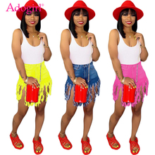 Adogirl Plus Size S-3XL Jeans Shorts Solid Color Fringed Sanded Denim Women Summer Casual Straight Fashion Trousers