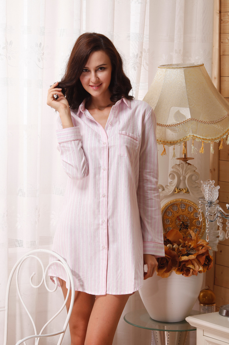 Pink White Sleepshirt Long Sleeve Night Shirt Dress Spring Autumn Cotton  Pyjama Shirt Nightgown 7ef7e7affe14