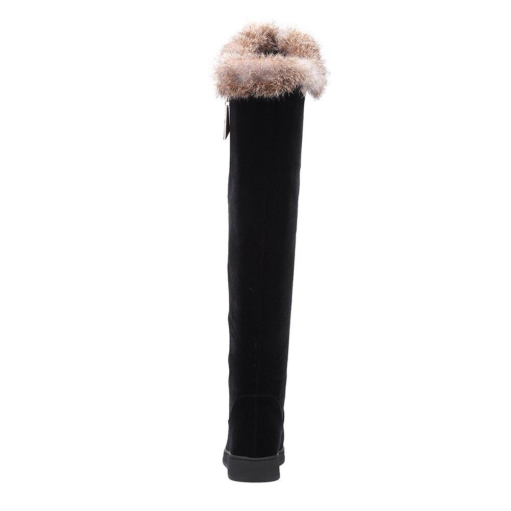 Thick Black Hiver Cm Doratasia Femmes Compensées Bottes Faible 3 Genou Automne 34 Populaire Fur Le 43 En Fausse Fourrure Fur Sur Décoration Thin black 4wx4BZnU