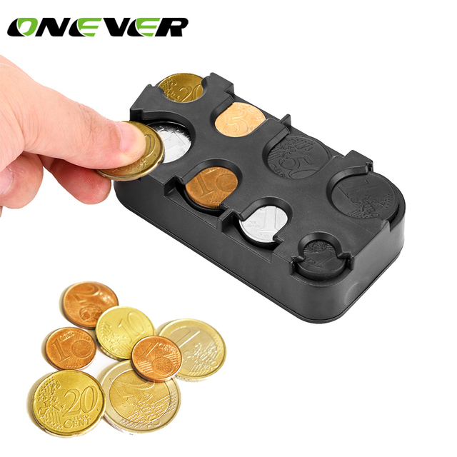 Onever Car-styling Auto Coin Holder Storage Box Car Euro Coin Case for Euro Plastic Money Container Organizer Stowing Tidying