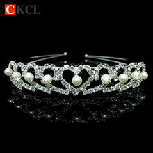 Romantic fashion rhinestone crystal pearl headdress, silver wedding tiara with the bride contracted hair Hairwear flower girl