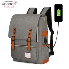AOSBOS Fashion Canvas Laptop USB Charging Backpack Women Men Vintage Oxford Travel Leisure Casual School Shoulder Bags Teenager