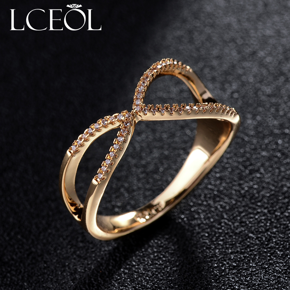 LCEOL Finger Ring Vintage Rings For Women Tiny Cubic Zirconia Paved Setting Cross Jewelry Minimalist Exaggerated Midi Anel