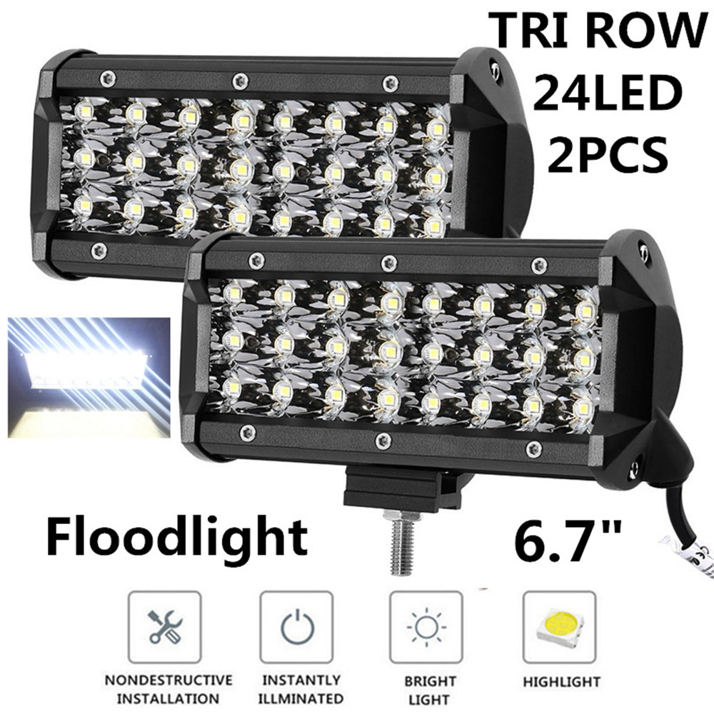 1Pair 72W LED Work Light Bar for Tractor ATV Motorcycle Offroad Fog light External 9000lm