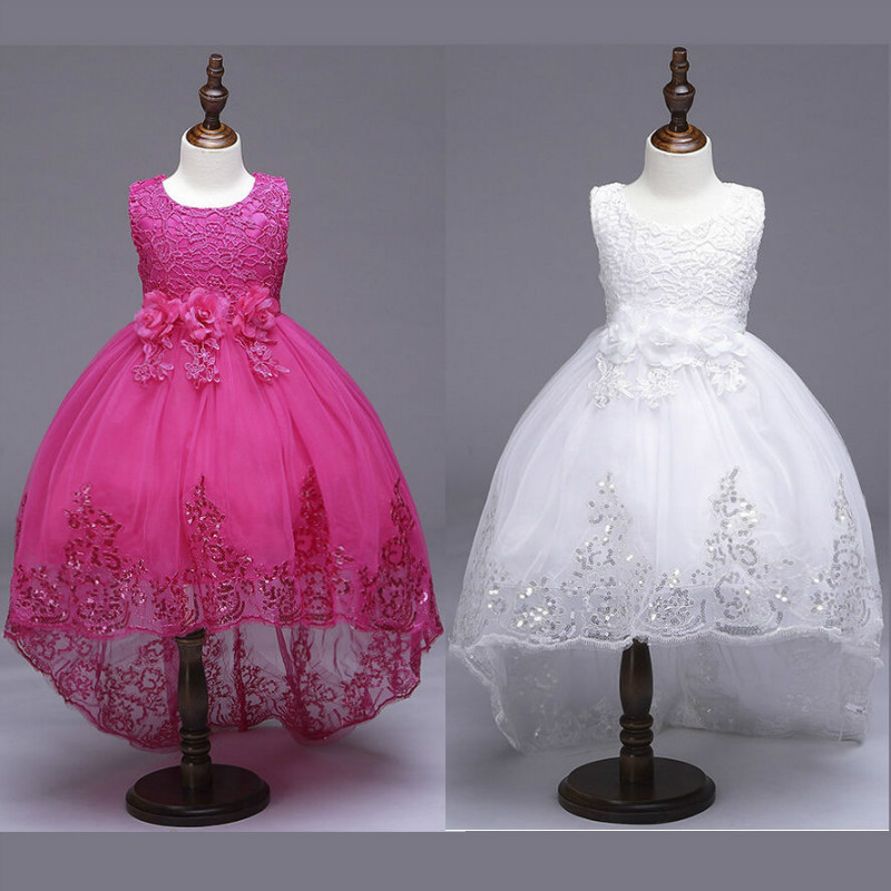Flower Girls Kids Baby Sequin Ball Gown Lace Dress mermaid Sequin Formal Bridesmaid Princess Wedding Party Christening Gown 3-8Y kids girls flower lace dress for party and wedding bridesmaid floral girl dress ball gown prom formal maxi dress 4 14y h3