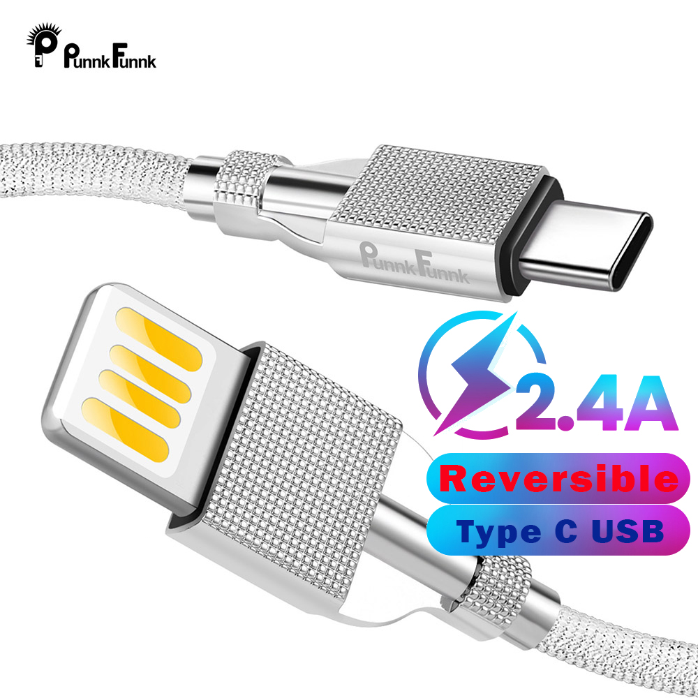 Punnkfunnk USB Type C Cable,Luxury Reversible Usb C Cable For Huawei P20 P30 Ξaomi Mi7 8,9 Samsung S10 S9 S8 Charger Cord
