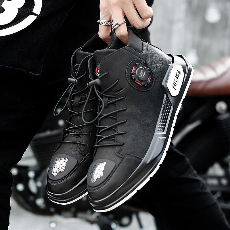 K3 Hommes Jeunes Outoodr Cheville Véritable De Up Casual En Étanche Lace Black Mode Cuir Printemps Chaussures Automne Travail Bottes 8n0kwPO