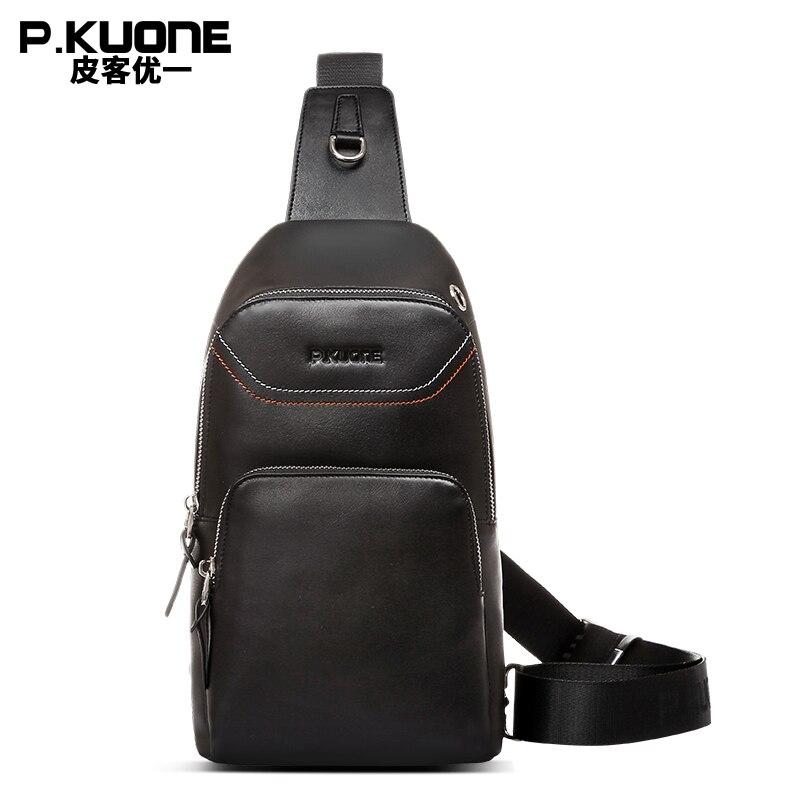 P.KUONE Brand Genuine Leather Men Chest Pack Fashion Teenager Boys Shoulder Messenger Bag Casual Travel Chest Bag Crossbody Bag