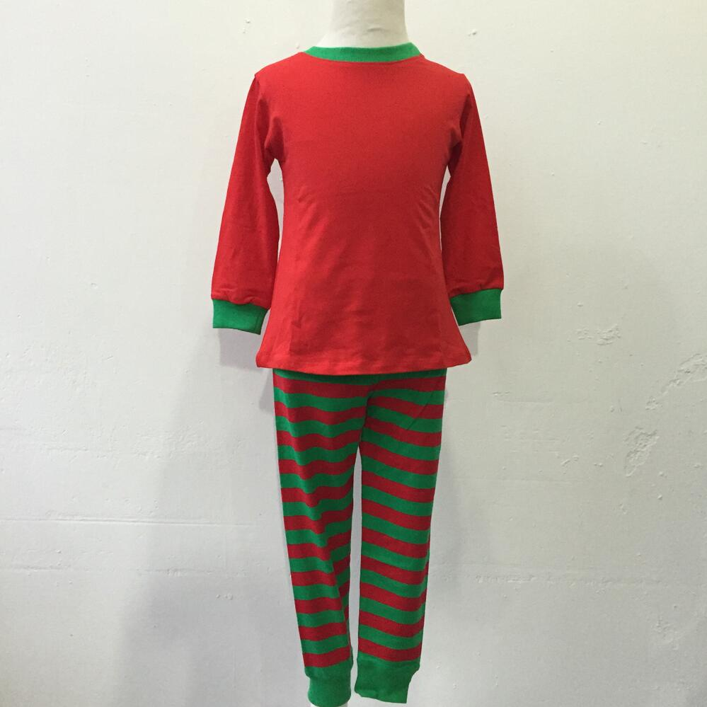 china OEM service children high quality christmas popular red green stripe pajamas baby