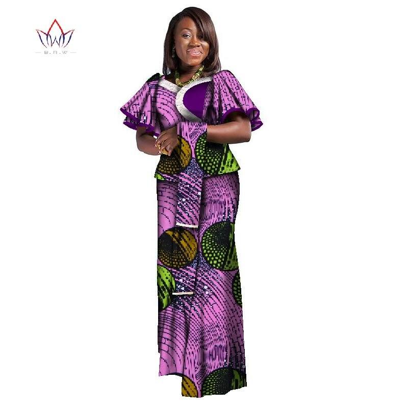 Afrique femmes Dashikis deux pièces haut jupe personnalisé africain Dashiki jupe ensembles cire africaine femmes fête coton costume 6xl WY2355
