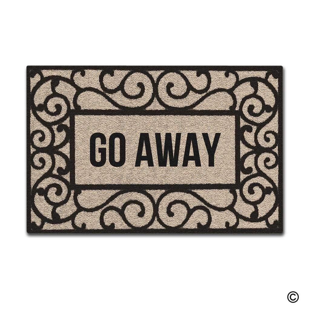 Doormat Entrance Floor Mat Rectangular Go Away Funny Doormat Indoor Outdoor Decorative Door Mat