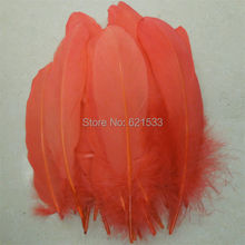 Aqua Goose Feathers,200pcs/lot- Watermelon Red Satinettes Loose feathers,wholesale bulk feathers,10-18cm long,freeshipping