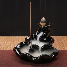 Ceramic Smoke Backflow Incense Burner Censer Cone Stick Holder Antique Censer Home Office Furnishing Decorative Accessories