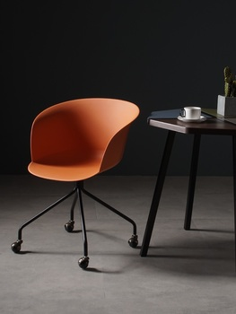 Italy Design Chair with High Armrest / Plastic Backrest / Metal Feet with Casters