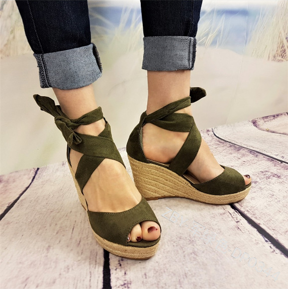09babf2a498 Lace up Women Espadrilles High Heel Fisherman Sandals Women Summer Fashion  Espadrilles Wedges Blue Beach Shoes Women Q121-in High Heels from Shoes on  ...