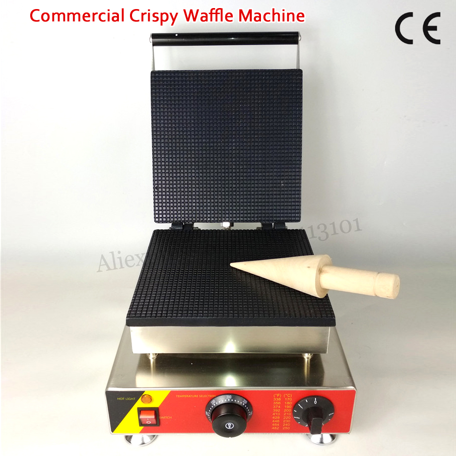 Commercial and Home Use Ice Cream Cone Waffle Maker Nonstick 25x25cm Big Pan Crispy Pancake Machine 1500W 220V 110V CE