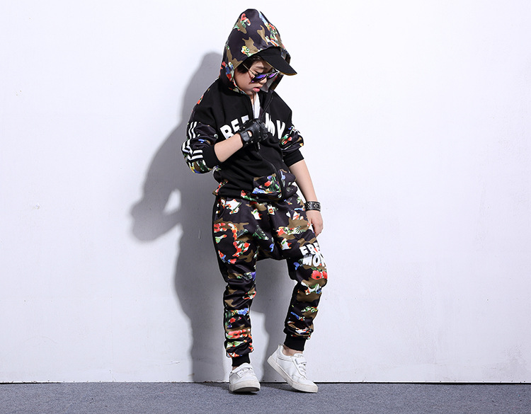2018 New Cuhk Children's Spring And Autumn Style Suit Boys' Long-Sleeved Hip-Hop Dance Suit Girls' Harem Pants Two-Piece Suit aile rabbit children s clothing suits for boys and girls classic camouflage outdoor suit autumn long sleeved shirt with pants