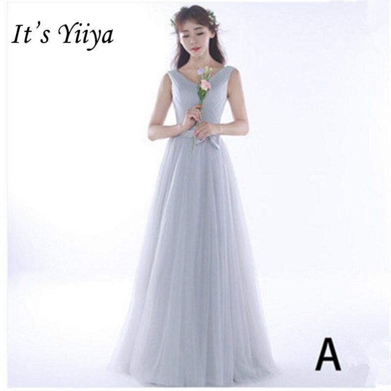 It's YiiYa New Sleeveless Strapless Floor-length   Bridesmaid     Dresses   Fashion Mesh Back Lace Up A-line   Dress   B058