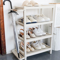 Simple Multifunction Shoe Rack Storage Cabinet PP Plastic Standing Shoe Shelf Space Saving Organizer Shelf