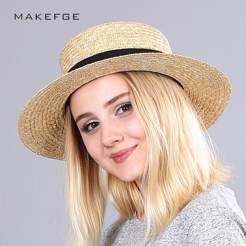 Brands fashion Beach hat wide brim straw hat flat top summer sun hat ladies wheat ladies straw hat girls beach Chapeu Feminino