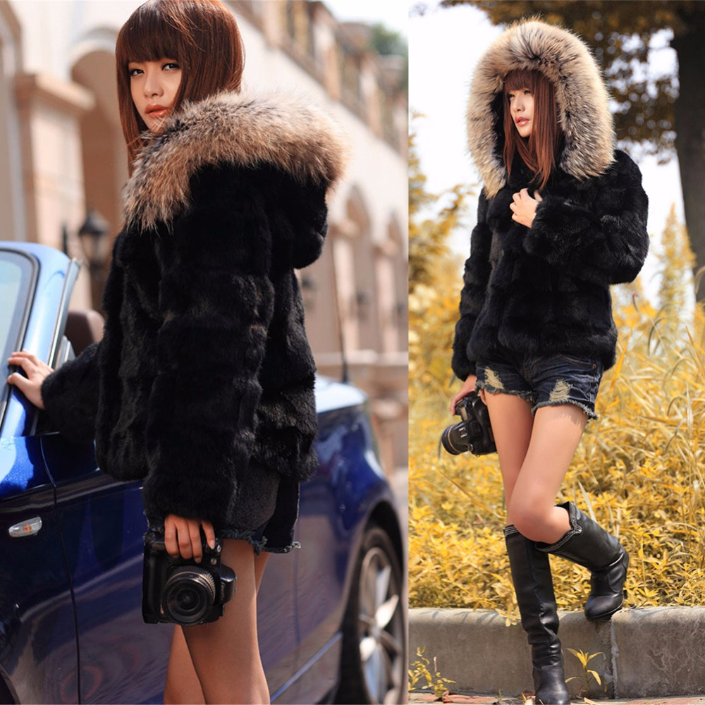Ethel Anderson Women's Genuine Natural Rabbit Fur Coat Coat With Fur Hood Raccoon Hood Trim