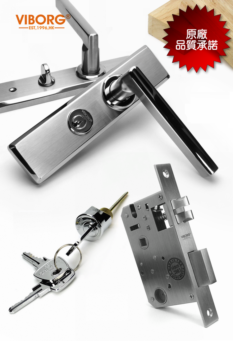VIBORG Deluxe 304 Stainless Steel Keyed Security Privacy Bedroom Living Room Entrance Entry Door Mortise Lever Lockset Lock Set