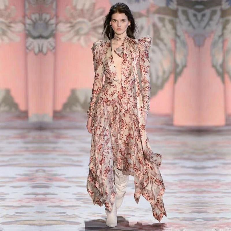 Runway Designer High Quality Elegant Woman Dress Floral Print Asymmetrical Sexy Deep V Neck Tie Female