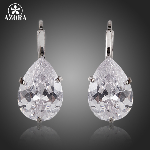 AZORA Brand Design Pear Cut Clear Cubic Zirconia Water Drop Oorbellen TE0158