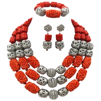 Splendid Nigerian Wedding Artifical Coral Statement Jewelry Set Handmade Coral Beaded African Necklace Bracelet Earrings ACB-28