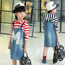 Summer Boys Clothing Sets New Design Baby Girl Striped Hooded Sweater And Letter Print Denim Dress Girl Blouse 2Pcs Set
