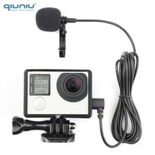 QIUNIU 2M Esterno Microfono Mic con Standard Cornice di Montaggio Custodia Protettiva Custodia per GoPro Hero 3 3 + 4 go Pro Accessori 4