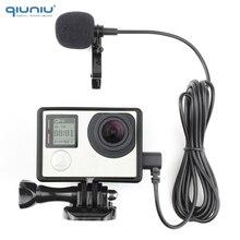 QIUNIU 2M 외부 마이크 마이크 (표준 프레임 장착) GoPro Hero 3 용 보호 하우징 케이스 3 + 4 Go Pro 4 액세서리