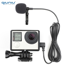 QIUNIU 2M micro externe avec support de cadre Standard boîtier de protection pour GoPro Hero 3 3 + 4 Go Pro 4 accessoires