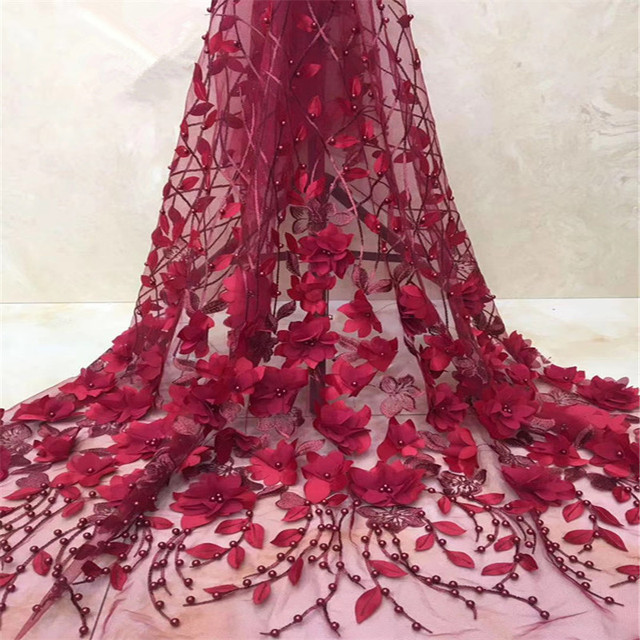 High Quality Wine 3d Flower Net Lace Beaded Embroidered Nigerian Laces Fabric French Tulle Lace Fabric For Wedding Party X1354