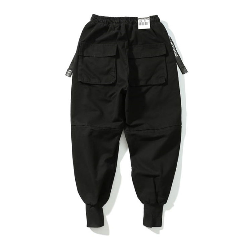 Men Multi-Pocket Elastic Waist Harem Pants HightStreet Hip Hop Casual CamouflageTrousers Joggers Male Dance Cargo Tactical Pants