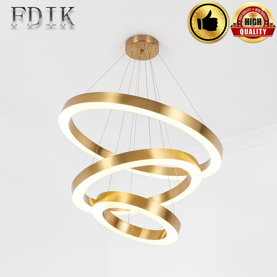 Gold Color Modern LED Pendant Lights For Dining room living room hotel room 40CM-120CM circle rings LED lamps 2018 new creative gold silver stainless steel maple leaf shape led pendant lights lamps for hotel living room restaurant dining room cafe