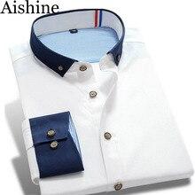 Сшивание хит вскользь рубашка рубашки качества моды длинным марка рукавом мужская
